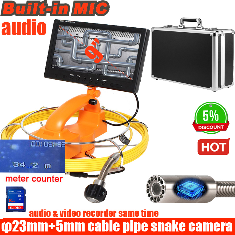 9inch AHD 960P Pipe Sewer Inspection Video Camera Drain Pipe Sewer Inspection Camera System With DVR Meter Counter  Function