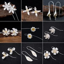 Jisensp Korean Fashion Silver Color Long Flower Stud Earrings for Women Statement Jewelry Wedding Big Earings 2021 Femme Brinco