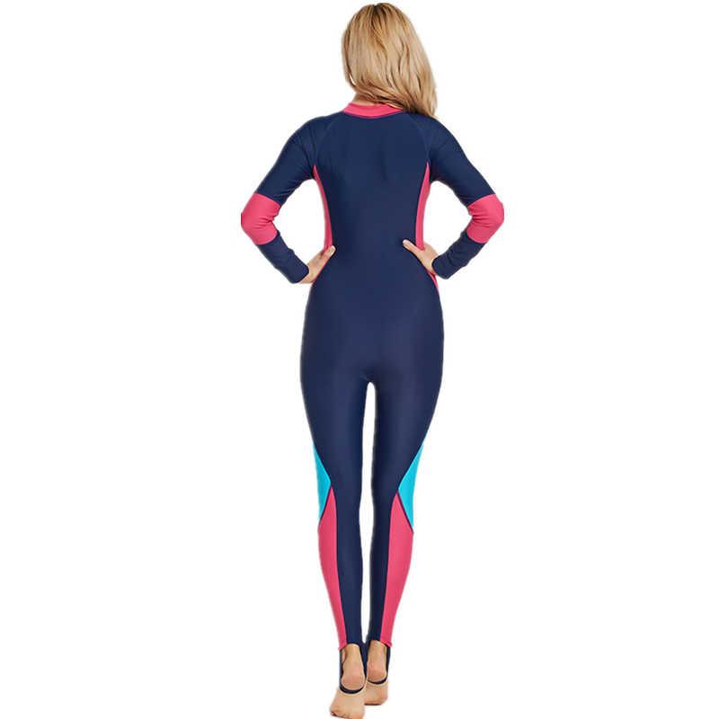 Lycra Vrouwen Lange Mouwen Duiken Wetsuit Een Stuk Onderwatervissers Surfen Full Body Wetsuits Duiken Pak Apparatuur Badpak