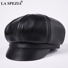 LA SPEZIA Men octagonal cap newsboy beret Genuine Leather Male Casual Gatsby hats black Retro Spring Brand Eight Piece Cap Flat