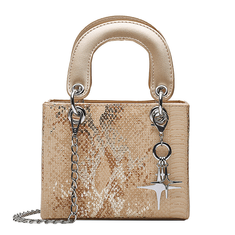 Women's Crossbody Bags Fashion Ladies Top-handle PU Vintage Chains Serpentine Zipper Female Satchel Shoulder Bag Casual Handbags