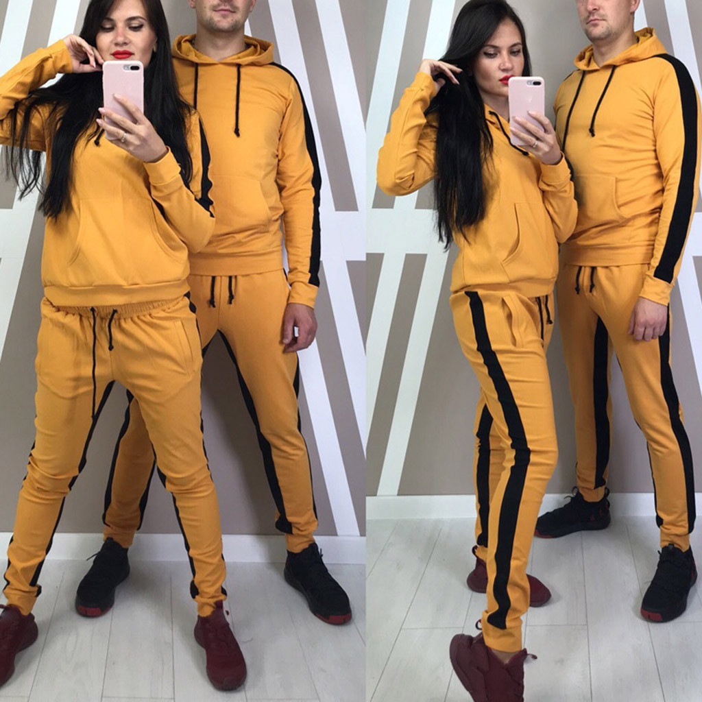 Tracksuit Women 2 Piece Set Women's Sweat Suit костюм женский костюмы Solid Hooded Long Sleeve Pullover Stripe Sweatshirt #3