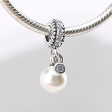 Authentic S925 Silver Luminous Elegance Pearl With Crystal Pendant Bead Charm for Women Bracelet Bangle DIY Jewelry