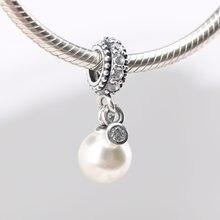 Authentische S925 Silber Leucht Eleganz Perle Mit Kristall Anhänger Perle Charme für Frauen Armband Armreif DIY Schmuck