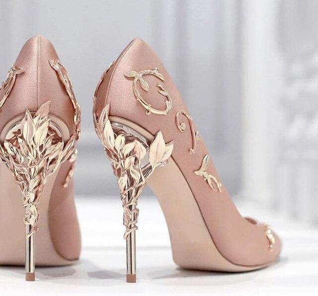 Elegant Silk Rhinestone Flower Design Pointed Toe High Heels 1