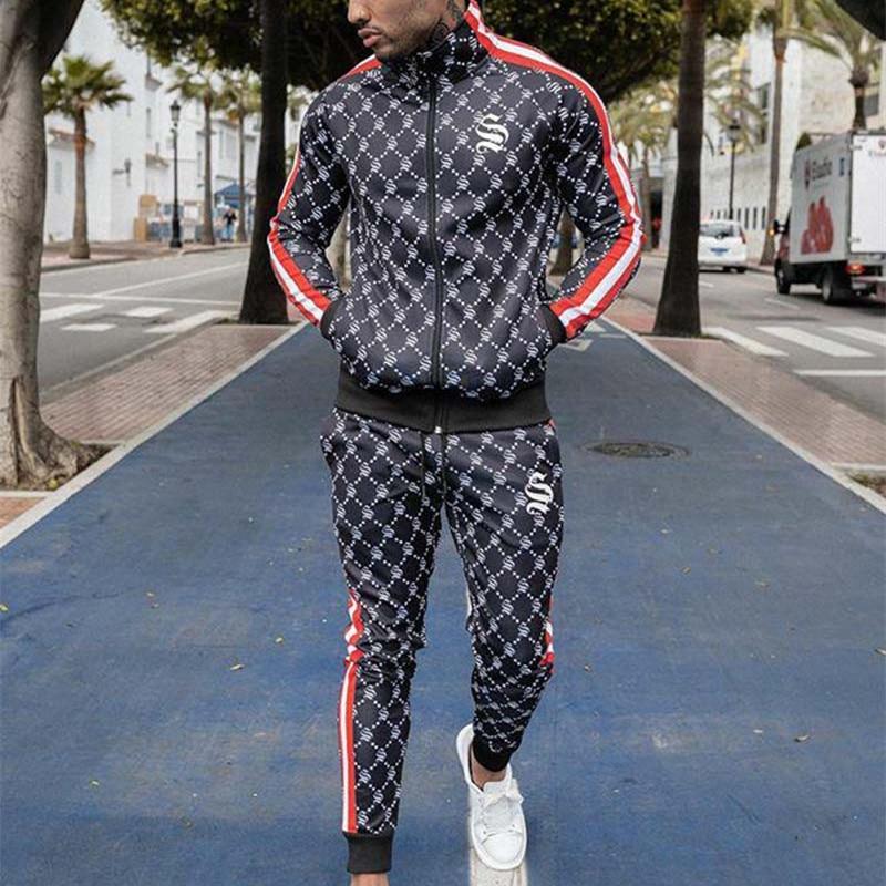 Sportsuits Set Men 2019 Brand Fitness Suits Autumn Men Set Long Sleeve Stripe Hoodies+Pants Gyms Casual Sportswear Suit