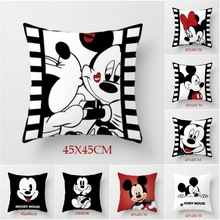 Disney White Black Mickey Minnie Mouse Cushion Cover Cute Decorative Pillowcases On Bed Sofa Baby Kids Birthday Gift 45x45cm