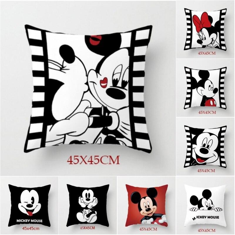 Disney blanc noir Mickey Minnie Mouse housse de coussin mignon taies d'oreiller décoratives sur lit canapé bébé enfants cadeau d'anniversaire 45x45cm