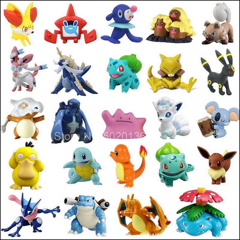 Tomy – figurines Pokemon 4-6cm, Charmander Popplio Litten Pikachu Rowlet Treecko Eevee Fennekin Greninja