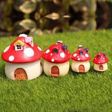 1 pc Vintage decoración Artificial para el hogar microadornos para paisajismo mini seta casa miniatura resina de hadas jardín accesorios para manualidades