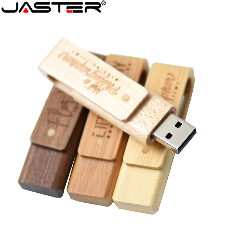 JASTER Hot USB2.0 Wood Rotation Flash Drive USB 4GB 8GB 16GB 32GB 64GB Pen Drive Wedding Commemorative U Disk
