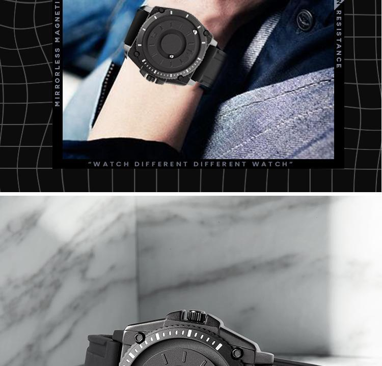 H1026f31bff1142378e48d1dc833928323 Eutour magnetic watch parallel time and space black technology men's couple wristwatch women's wristwatch personality gel wristb