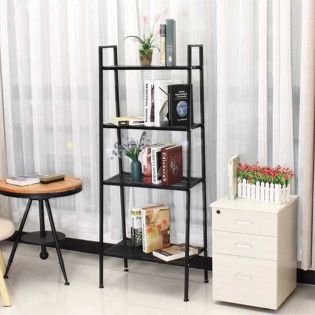 4 Tiers Wall Leaning Ladder Shelf Bookcase Bookshelf Storage Rack Shelves Storage Stand Unit Organizer for Office Home Bedroom 3