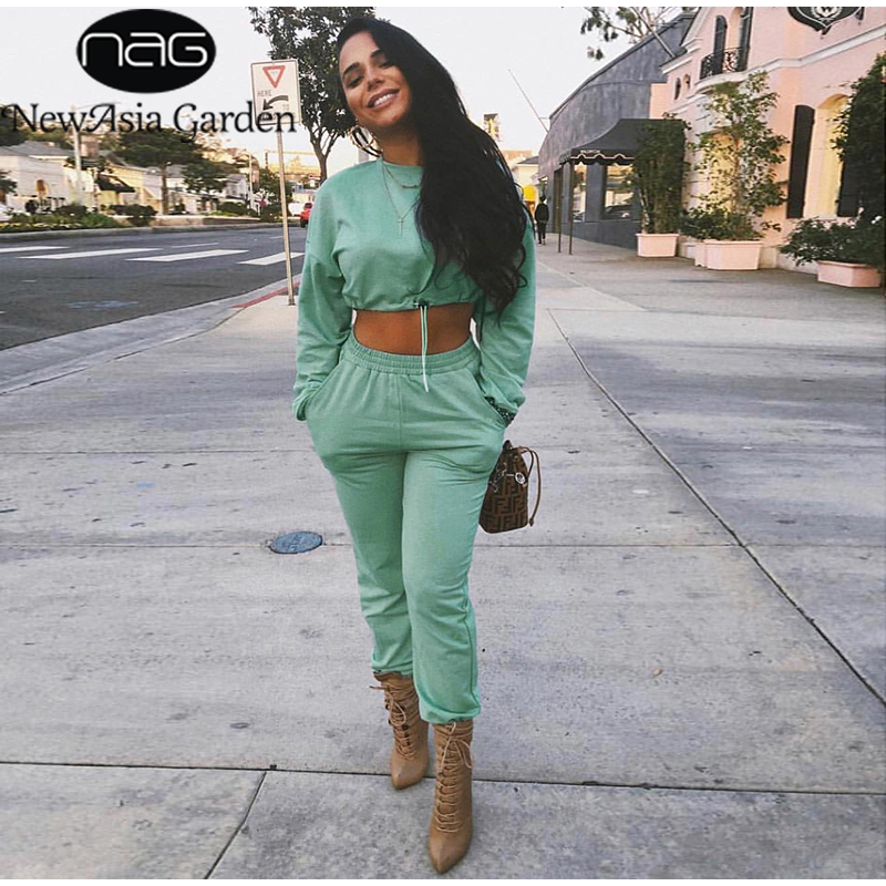NewAsia Autumn Two Piece Set Crop Top And Pants Pullover Tracksuit Women Two Piece Outfits Plus Size Sports Casual Matching Sets