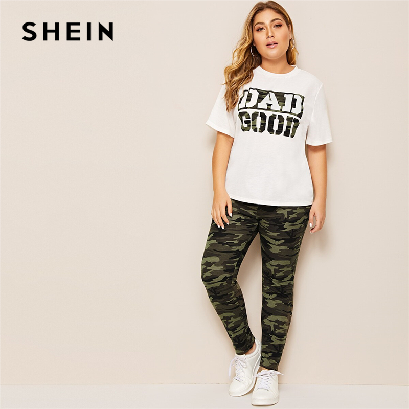 SHEIN Plus Size Camouflage Green Slogan Print Tee And Leggings 2 Piece Set Women Spring Autumn Casual Abaya Two Piece Sets