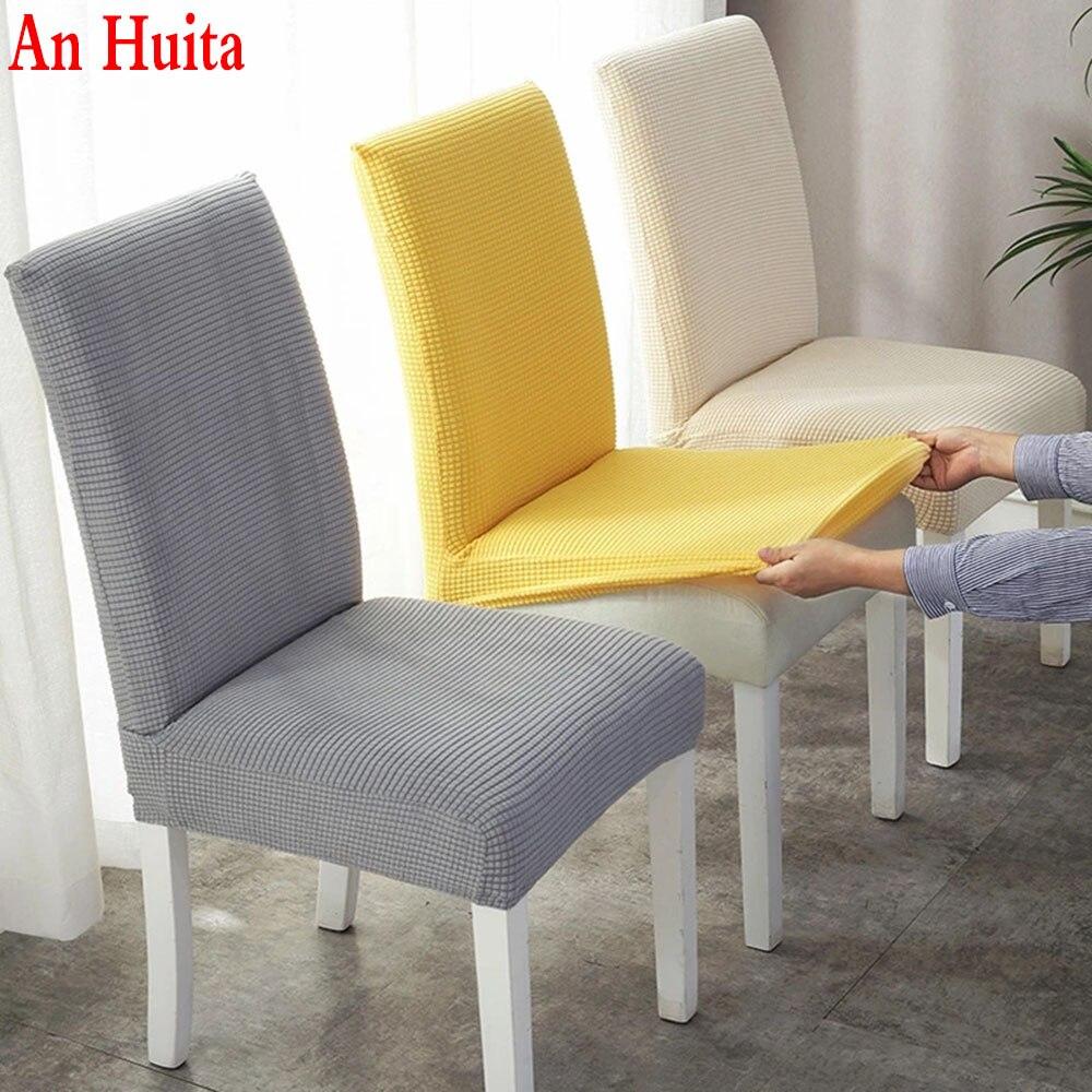 1/2/4/6 adet jakarlı düz yemek sandalye kılıfı Spandex elastik sandalye Slipcover vaka streç sandalye kılıfı düğün otel için ziyafet