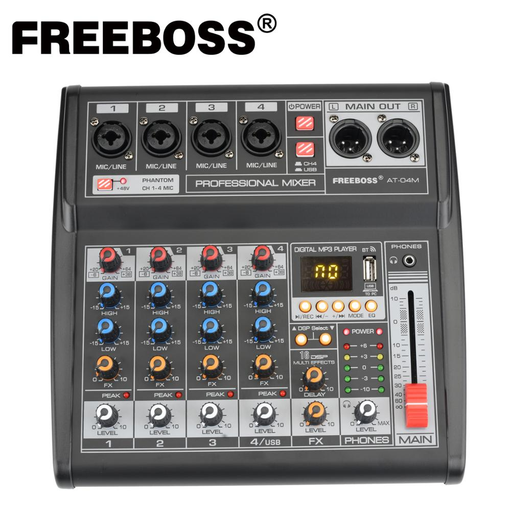 Freeboss – alimentation Portable DC 5V, Bluetooth, Interface USB, 4 canaux, 16 effets, carte son, carte son, Console de mixage Audio