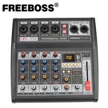Freeboss fuente de alimentación portátil de 5V CC, AT 04M, interfaz USB Bluetooth, 4 canales, 16 efectos, tarjeta de sonido para PC, mezclador de Audio