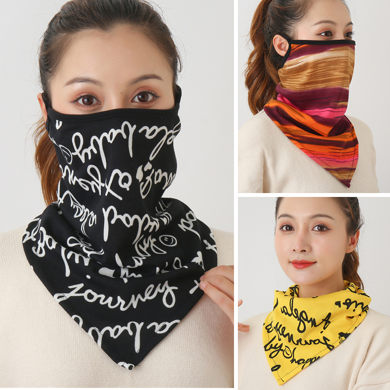Winter Print Face Scarf New Women Spring Mask Female Bandana Designer Ring Wraps Cover Warm Foulard Cotton Soft Neck Scarves|Women