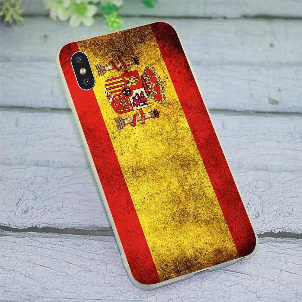 Espanha Bandeira América Arte Da Caixa Do Telefone para o iphone SE Capa X XR 5 7 8 Plus 6 5S 6S xs Max TPU