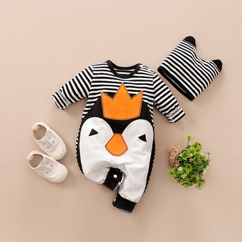 Newborn Baby Boy Girl Clothes Fall New born Onesie Kids Romper Cotton Infant Penguin Jumpsuit 0 3 6 9 12 Month Babies Costume image