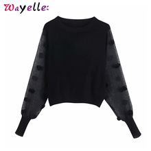 Women Sweaters Patchwork See Through Sleeves Black Knitted Sweaters 2019 Chic Sexy Elegant O Neck Pullovers Women Blouses white round neck bell sleeves embroidered blouses