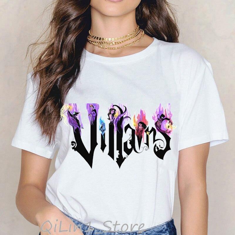 Ropa Mujer 2019 Queen And Villains Print T-shirt Women Plus Size Princess Vogue T Shirt Femme Harajuku Shirt Streetwear Tops