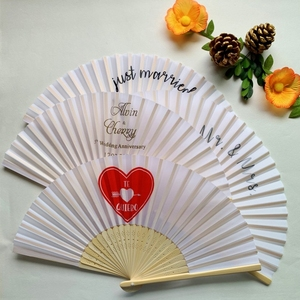 Image 3 - 50PCS Personalized Engraved Bamboo Folding Silk Hand Fan Customized Wedding Favor Birthday Baby Shower Holiday Gift For Guests