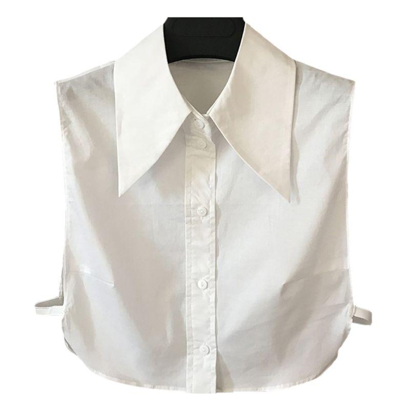 Women Elegant Cotton Detachable Half-Shirt Pointed Triangle Lapel Fake Collar LX9E
