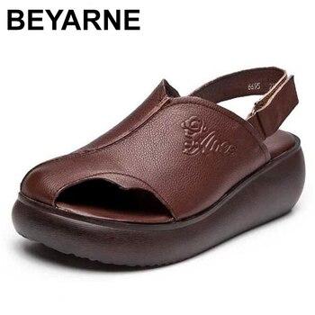 BEYARNEClassic Women Sandals Platform Sandals Wedges Shoes Woman Cowhide sandals Mujer Summer Shoes Leather Wedge Heels Sandals фото