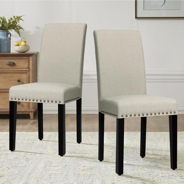 2 Fabric Dining Chairs w/ Nailhead Trim 3