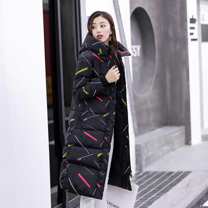 Длинные пуховые парки с тонким принтом женские зимние куртки пальто теплая осенняя куртка для женщин пальто с капюшоном CRRIFLZ 2019 новая зимняя коллекция