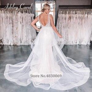 Image 5 - Ashley Carol Meerjungfrau Hochzeit Kleider 2020 Sexy V ausschnitt Spitze Luxus Perlen Abnehmbare Zug Braut Kleid Romantische Brautkleider