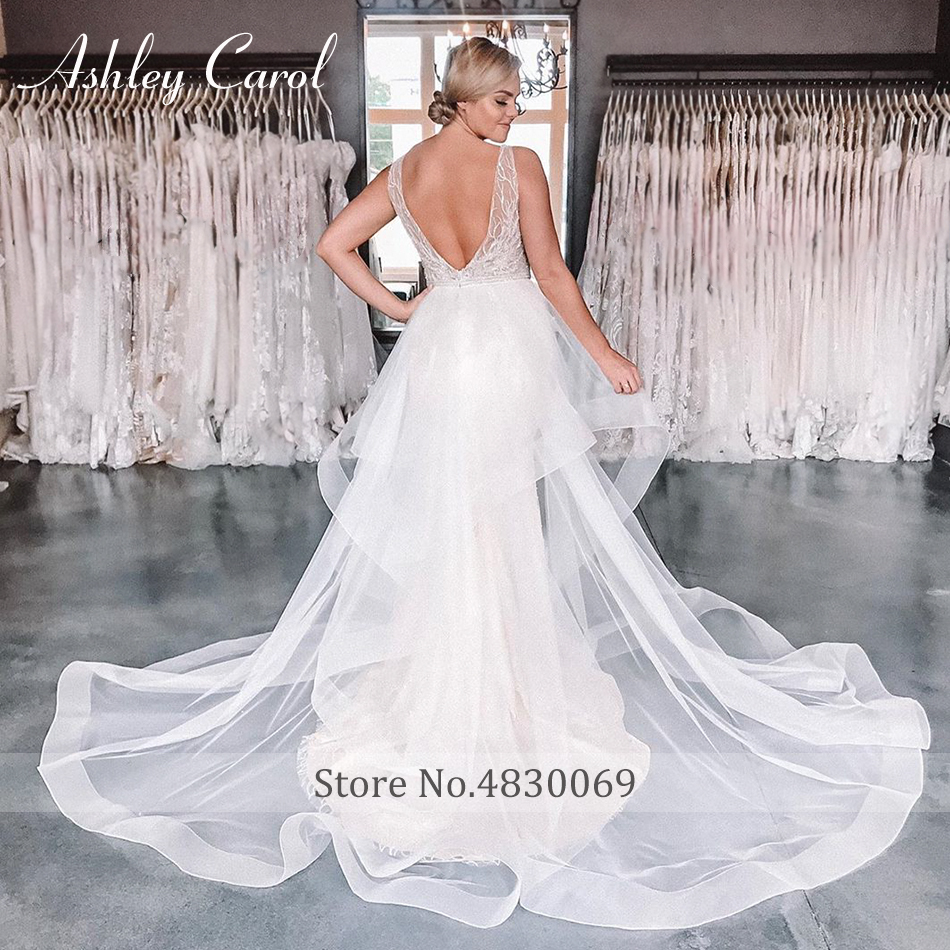 Image 5 - Ashley Carol Sexy V neckline Lace Mermaid Wedding Dresses 2020 Luxury Beaded Detachable Train Bride Dress Romantic Wedding GownsWedding Dresses   -