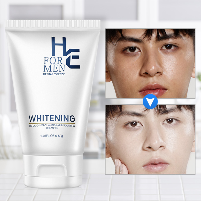Hearn 50g Men Whitening Facial Cleanser Oil Control Blackhead Acne Whitening Moisturizing Special Cleanser Skin Care Products image