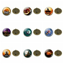 1pcs Halloween Brooches Pins Cute Pumpkin Glass Dome Brooch Badge Party Gifts