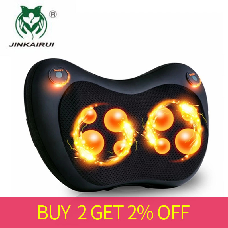 Electric Kneading Neck Shoulder Back Cervical Lumbar Leg Massager Infrared Heating Shiatsu Massage Pillow Car Chair Relax Device-in Massage & Relaxation from Beauty & Health    1