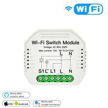 Interrupteur de lumière intelligent WiFi 10A 2 voies, 5/1 pièces, Module de bricolage caché, application Smart Life/Tuya, télécommande, fonctionne avec Alexa Echo Google Home