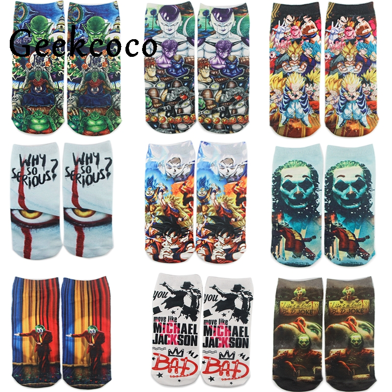 J1207 Funny Cartoon Anime Dragon Ball Print Socks Horror Movie Joker Sock Women Men Breathable Cotton Hip Hop Sock Gifts