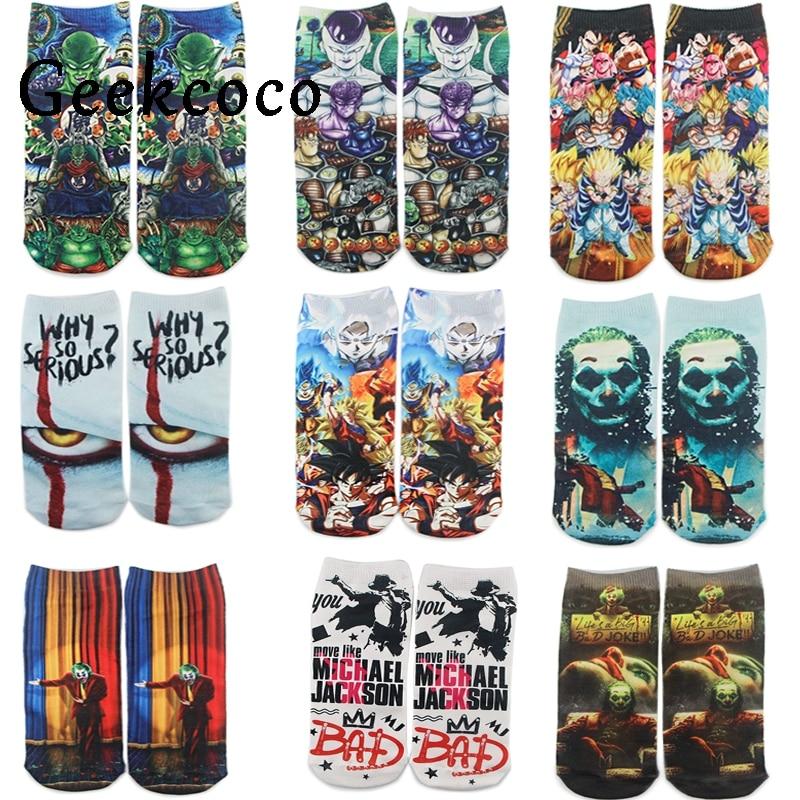 J1207 Funny Cartoon Anime Dragon Ball Print Socks Horror Movie Joker Sock Women Men Breathable Cotton Hip Hop Sock Gifts