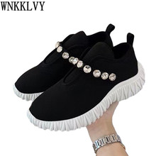 Casual Shoes Loafers Spring-Sneakers Rhinestone-Decor Women Flat Stretch-Sock Round-Toe
