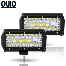 120W 7inch Combo Car Work Light Automobile LED Light Bar Fog Lamp 3-Row 4x4 Truck ATV Offroad Driving Auto Accessories Worklight 12 inch 120w car led worklight bar 24x 5d cree chips combo offroad light driving lamp for truck suv 4x4 4wd atv