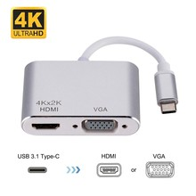USB-C Type C to HDMI VGA Adapter 4K HD,Thunderbolt 3 Compatible Dual Screen Display with Aluminium Compatible MacBook,ChromeBook