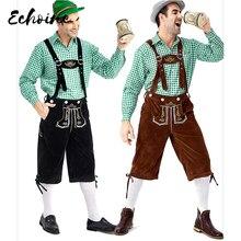 Echoine Adult Traditional Oktoberfest Costume Lederhosen Bavarian Octoberfest German Beer Mens Carnival Party Fancy Costume