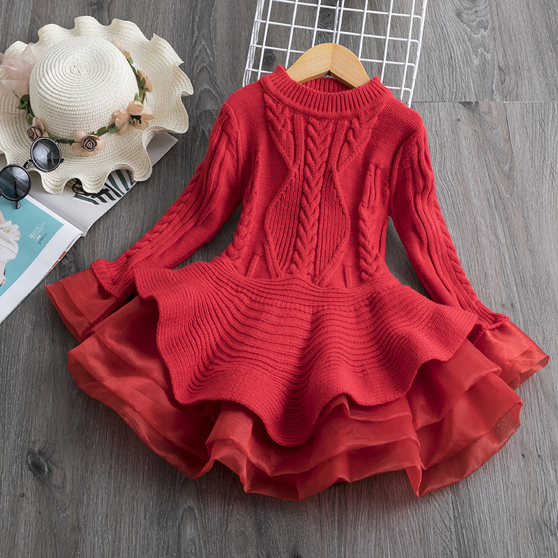 Long Sleeve Dress for Girls 3-8 Years Princess Costume Winter Knitted Kids Red Christmas Dress New Year Autumn Children Clothing 1