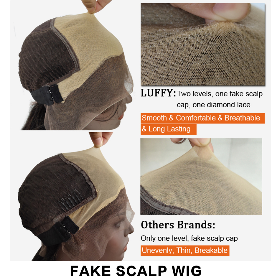 Image 3 - Yaki Straight Fake Scalp Human Hair Wigs 13x6 Lace Front PrePlucked Medium Ratio Glueless Remy Brazilian Bleached Knots LUFFY-in Human Hair Lace Wigs from Hair Extensions & Wigs