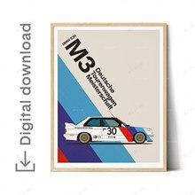 BMW-lienzo de arte fino para coche, Impresión de pared, blanco natural, ilustraciones, póster de coche, cumpleaños, E28 E30 M3