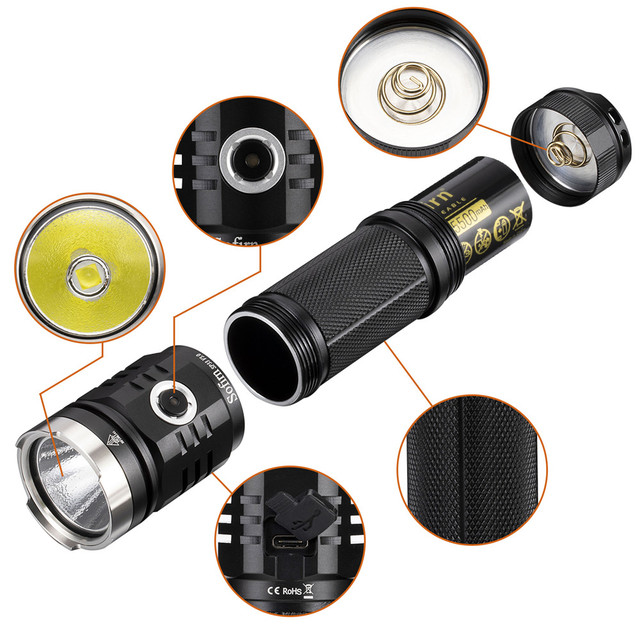 Sofirn SP33V3.0 3500lm Powerful LED Flashlight  Type C USB Rechargeable Torch Light Cree XHP50.2 with Power Indicator 2