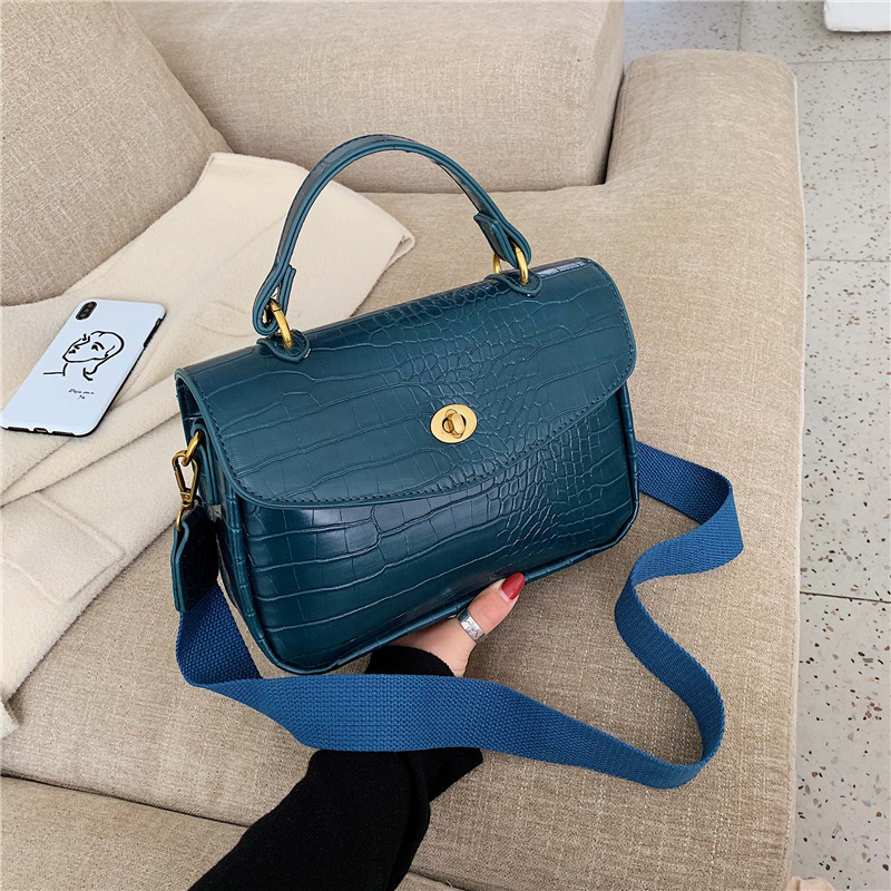 Vintage Alligator Women Handbags Designer Wide Strap Shouder Bags Luxury Pu Leather Crossbody Bag Ladies Small Flap Purses 2019