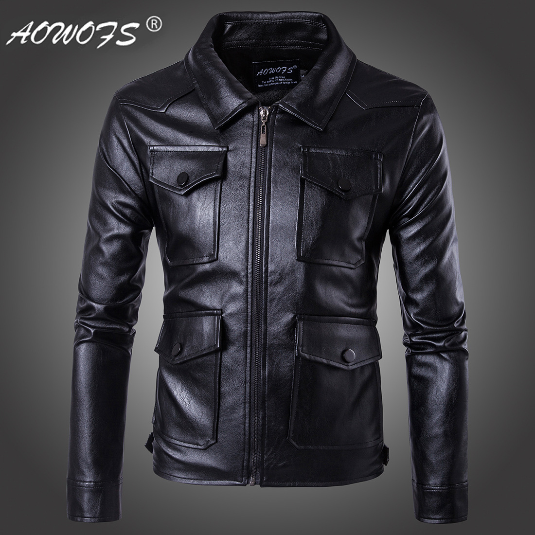 Ouma Punk 2018 New Style Casual Men Locomotive Leather Coat Multi-pockets Leather Jacket Coat Large Size D079
